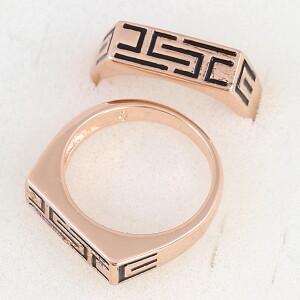Скромый перстень «Зевс» с греческим орнаментом и розовой позолотой купить. Цена 165 грн