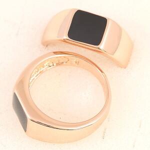 Мужской перстень «Малевич» с чёрной эмалью и розовой позолотой купить. Цена 199 грн