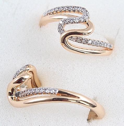 Элегантное кольцо «Эскиз» из медицинского золота с фианитами купить. Цена 185 грн