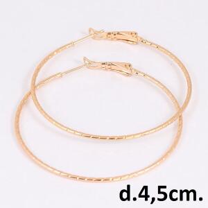 Тонкие серьги-кольца с мелкой косой насечкой и золотым напылением фото. Купить