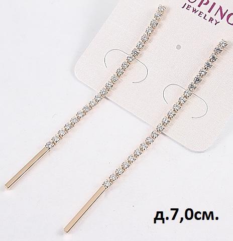 Лаконичные серьги «Тропинка» с бесцветными фианитами и позолотой купить. Цена 235 грн
