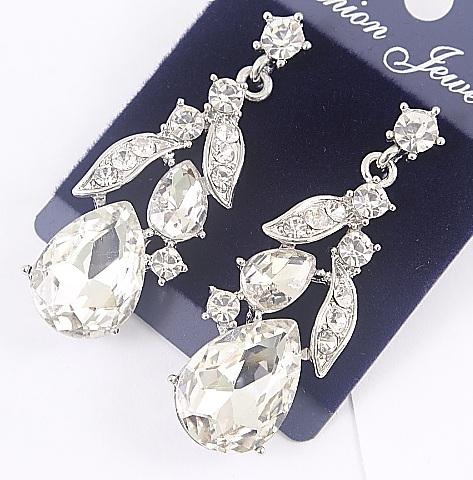 Серебристые серьги «Годеция белая» с крупным камнем и блестящими стразами купить. Цена 155 грн
