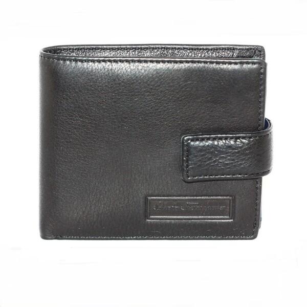 Элитный мужской бумажник «S.Ferragamo» из сочетания чёрной и синей кожи купить. Цена 1390 грн
