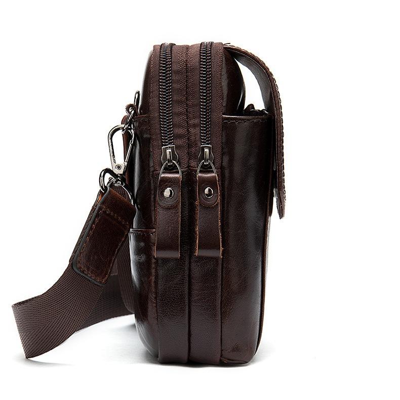 Маленькая сумка «Westal» из натуральной глянцевой кожи коричневого цвета фото 2