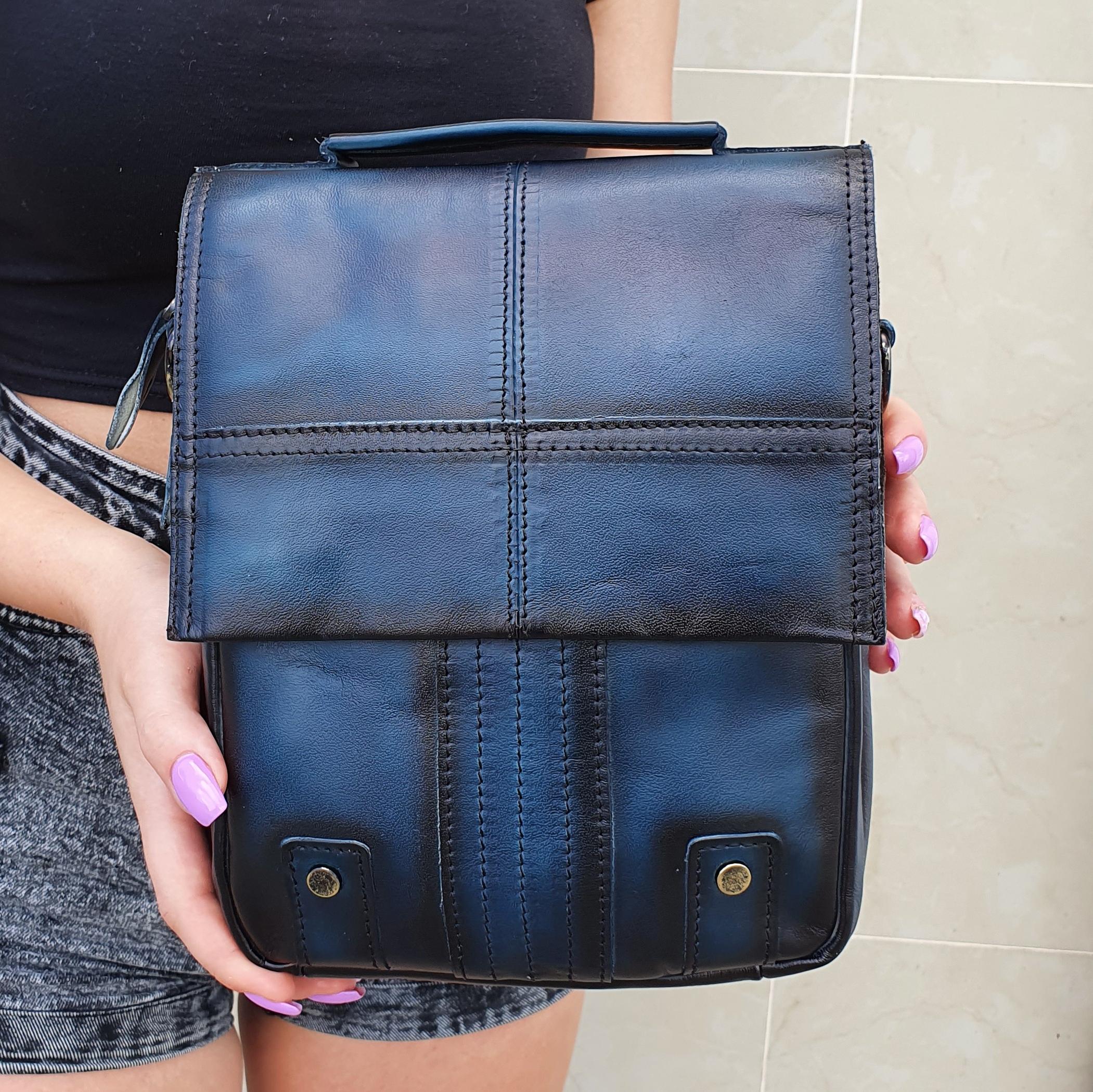 Синяя мужская сумка «Westal» в винтажном стиле из натуральной кожи купить. Цена 1990 грн