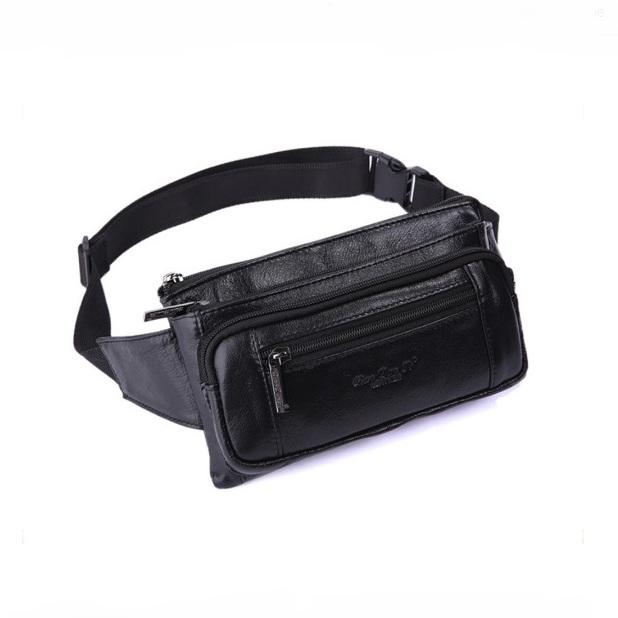 Чёрная сумка на пояс «Cheer Soul» из мягкой натуральной кожи купить. Цена 1160 грн