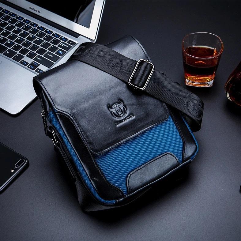 Комбинированная сумка «Bullcaptain» из чёрной кожи и синего нейлона купить. Цена 1499 грн