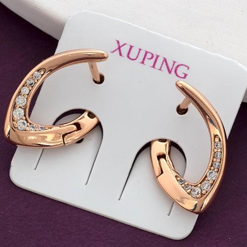 Закрученные серьги «Серна» с цирконами и позолотой от Xuping купить. Цена 145 грн