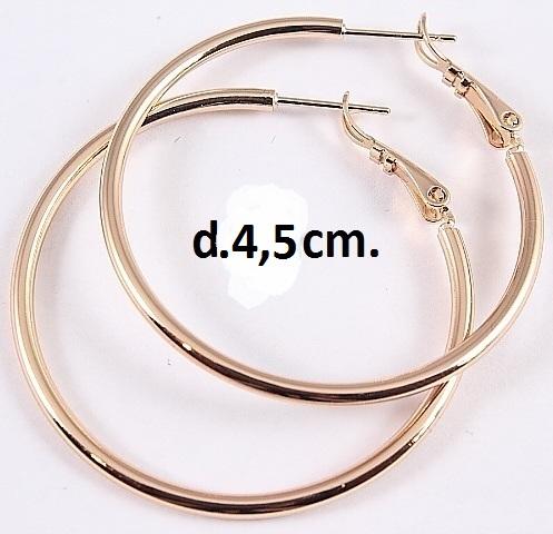 Классические серьги в виде гладких колец без камней с золотым покрытием купить. Цена 155 грн