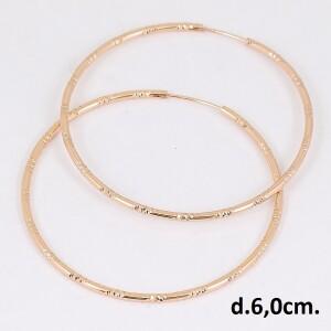 Крупные серьги-кольца со спиральной насечкой и покрытием из розового золота купить. Цена 185 грн