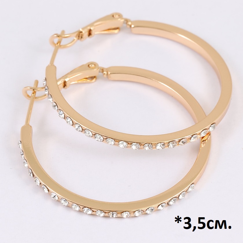 Тонкие серьги-кольца «Прут в стразах» с напылением из золота и бесцветными цирконами купить. Цена 215 грн