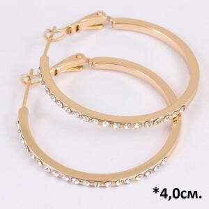 Популярные серьги «Кольца Прут в стразах» с золотым покрытием и стразами купить. Цена 215 грн