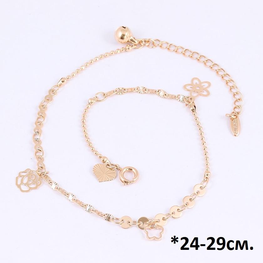 Модный браслет-цепочка на ногу с висюльками в форме цветов и качественной позолотой купить. Цена 175 грн