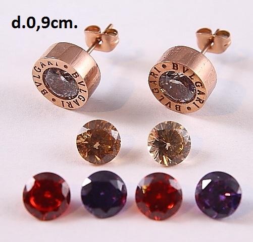 Стильные серьги «Bvlgari Color Diamonds» с разноцветными сменными камнями купить. Цена 299 грн