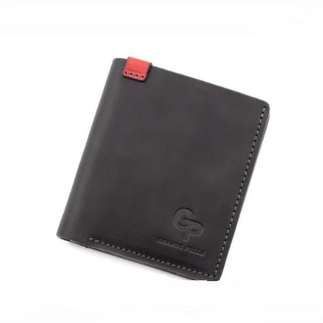 Чёрный бумажник «Grande Pelle» маленького размера из матовой кожи «crazy horse» купить. Цена 565 грн