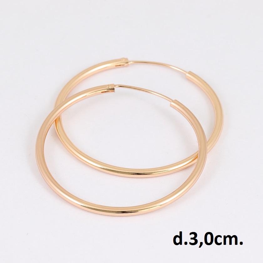 Гладкие серьги-кольца с золотым покрытием и застёжкой-конго купить. Цена 125 грн
