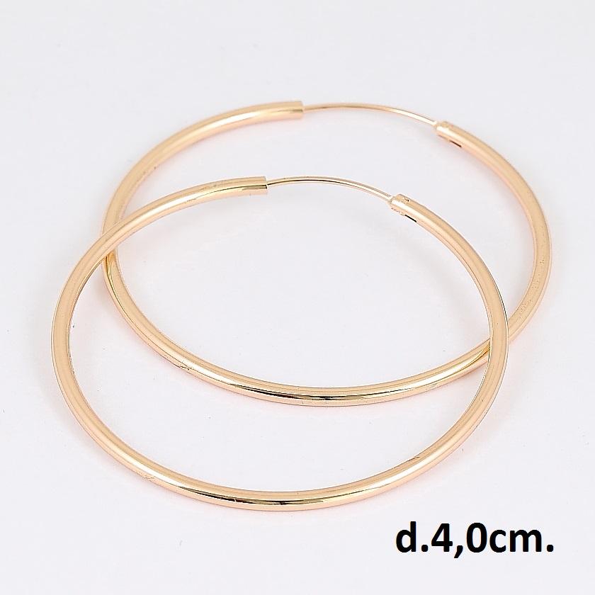 Обычные серьги в форме гладких колец из медицинского золота купить. Цена 135 грн