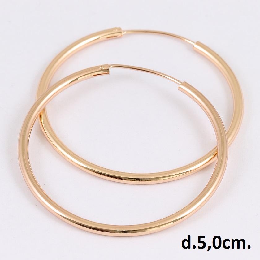 Среднего размера серьги «Кольца гладкие» без вставок и страз с великолепной позолотой купить. Цена 160 грн