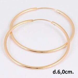 Довольно крупного размера позолоченные серьги-кольца без камней и насечек купить. Цена 175 грн