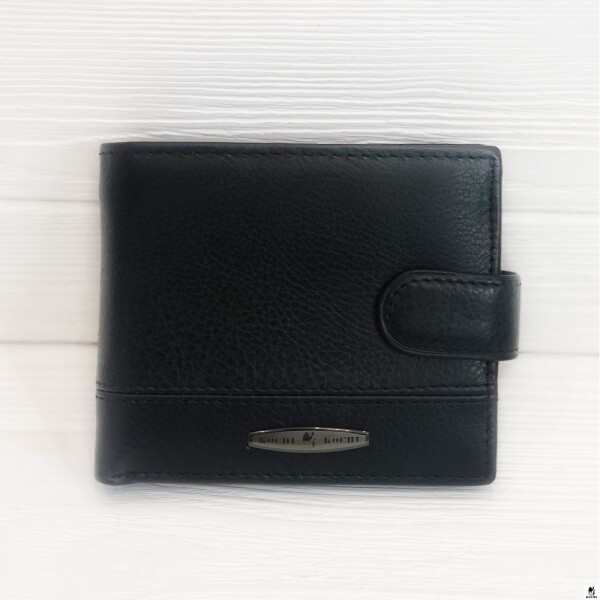 Недорогой мужской бумажник «Kochi» чёрного цвета из натуральной кожи купить. Цена 485 грн