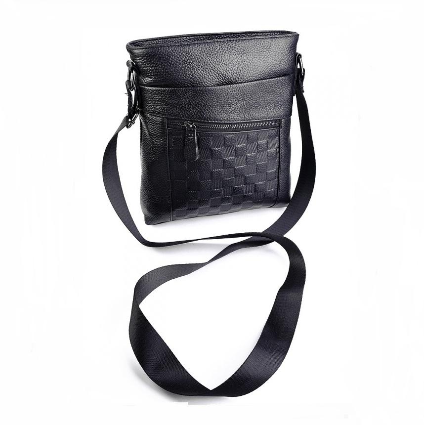 Крупная мужская сумка «Laras» из чёрной натуральной кожи флотар купить. Цена 1380 грн