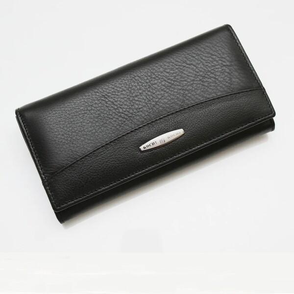 Строгий женский кошелёк «Kochi» в облегчённой версии из чёрной мягкой кожи купить. Цена 685 грн