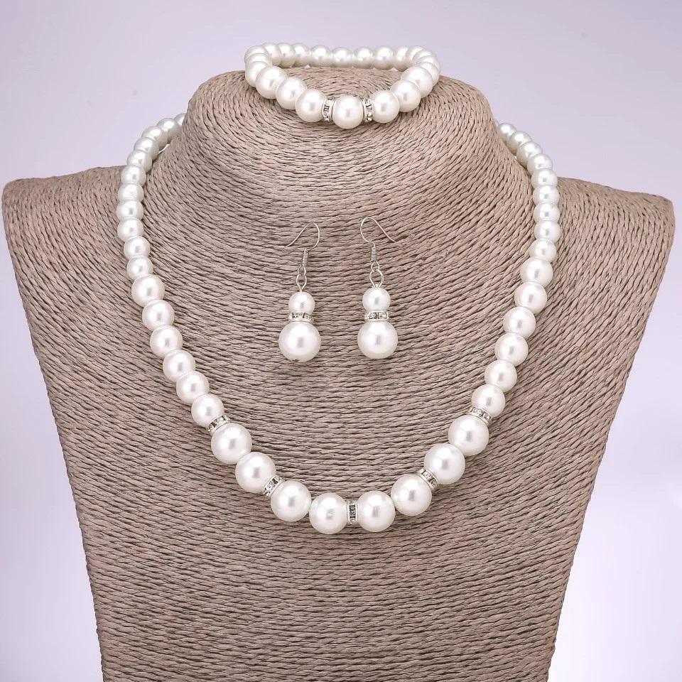Жемчужный набор «Палау» из ожерелья, серёжек и браслета купить. Цена 275 грн