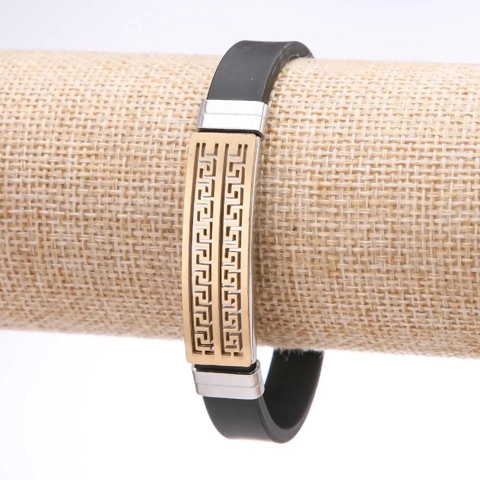Стильный мужской браслет «Фесалия» из чёрного каучука со вставками из нержавеющей стали купить. Цена 165 грн
