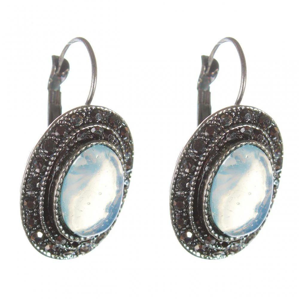 Овальные серьги «Лунная соната» с лунным камнем в оправе под старинное серебро купить. Цена 165 грн
