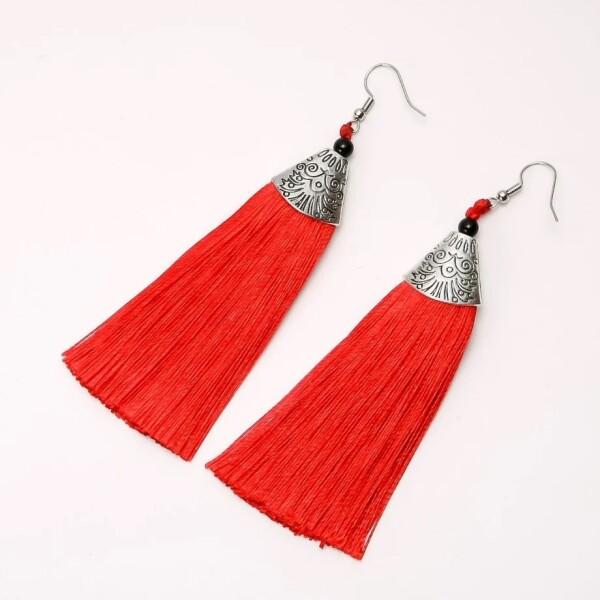 Восточные серьги «Альмина» из тонких нитей красного цвета купить. Цена 145 грн