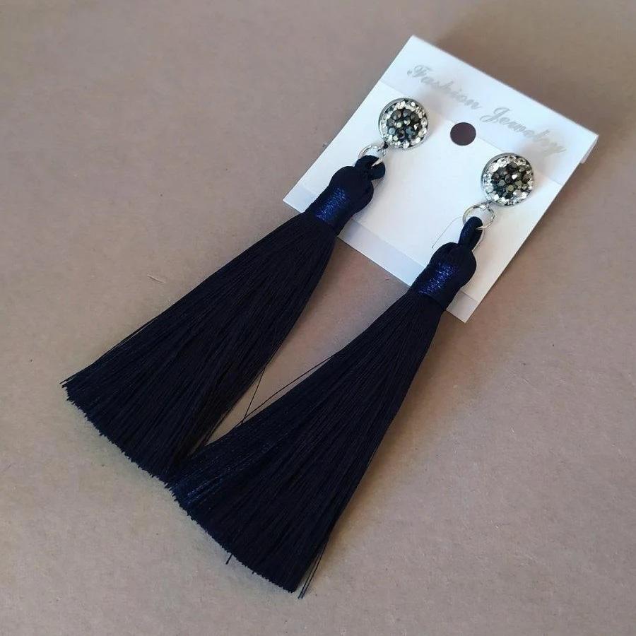 Тёмно-синие серьги-кисточки «Танго» с застёжкой-гвоздик купить. Цена 160 грн