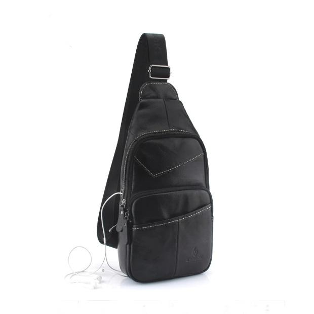 Мягкая сумка-слинг «ZZnick» из натуральной кожи чёрного цвета купить. Цена 1299 грн