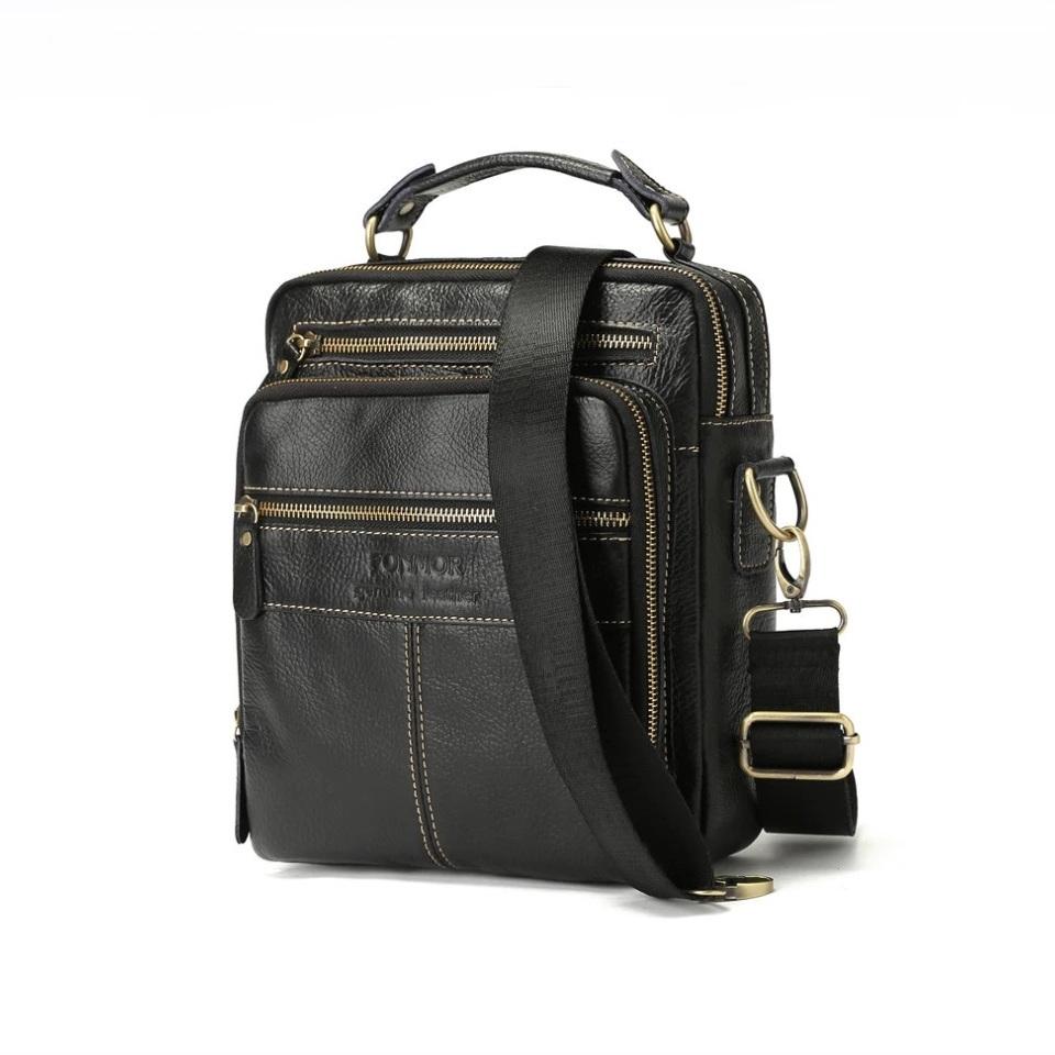 Люксовая мужская сумка «Fonmor» из мягкой глянцевой натуральной кожи купить. Цена 1780 грн