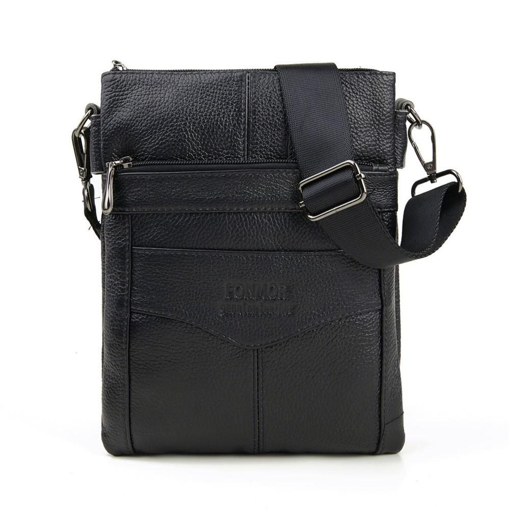 Среднего размера сумка «Fonmor» из зернистой кожи чёрного цвета купить. Цена 1390 грн