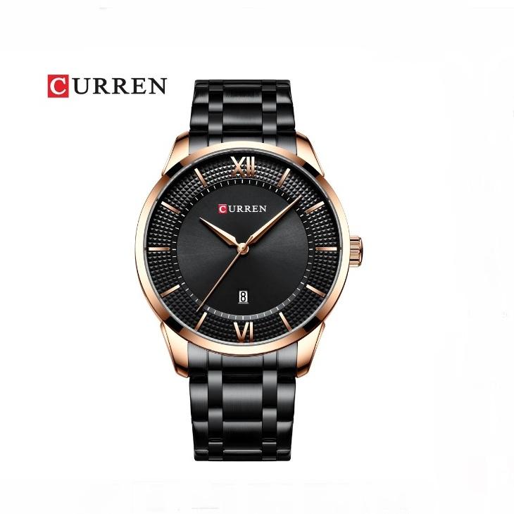 Крупные мужские часы «Curren» с чёрным металлическим браслетом купить. Цена 1299 грн