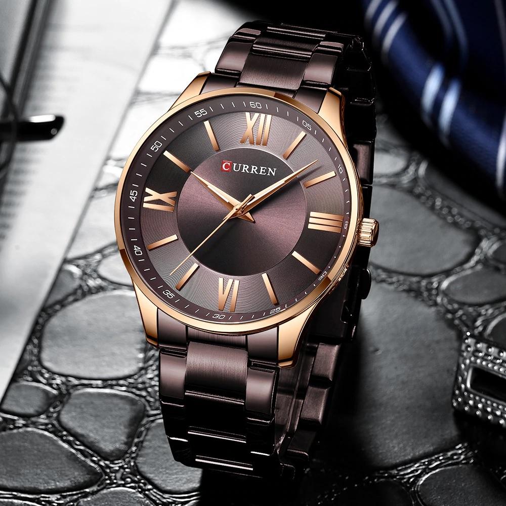 Красивые мужские часы «Curren» с браслетом и циферблатом шоколадного цвета купить. Цена 1299 грн