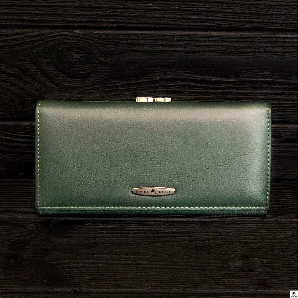 Зелёный кожаный кошелёк «Kochi» на магните с наружной монетницей купить. Цена 690 грн