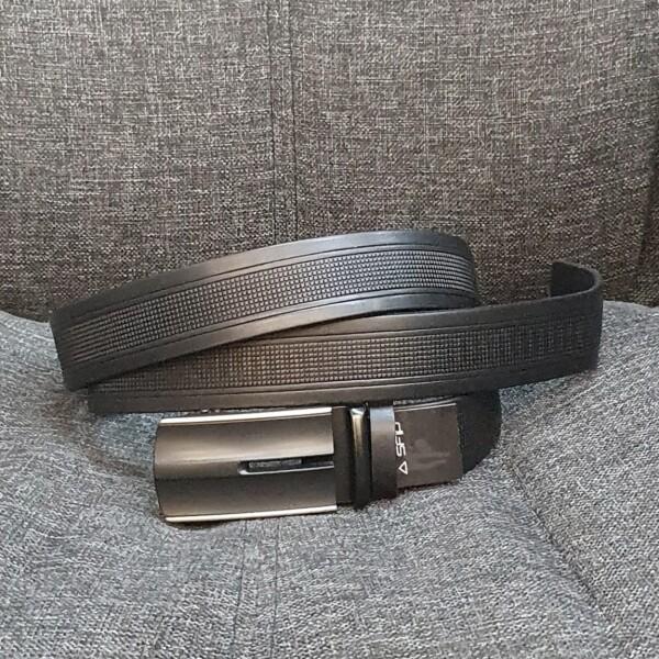 Чёрный мужской ремень «SfiP» из качественной кожи с автоматической пряжкой купить. Цена 545 грн