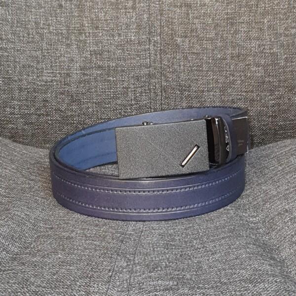 Отличный мужской ремень «SFIP» из кожи синего цвета с чёрной пряжкой-автомат купить. Цена 545 грн
