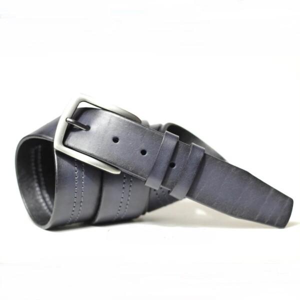 Гладкий мужской ремень «SFIP» из качественной кожи синего цвета купить. Цена 499 грн