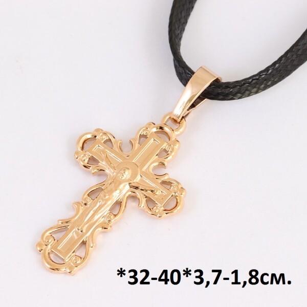 Короткая подвеска «Священство» с позолоченным крестиком на чёрном шнурке купить. Цена 215 грн