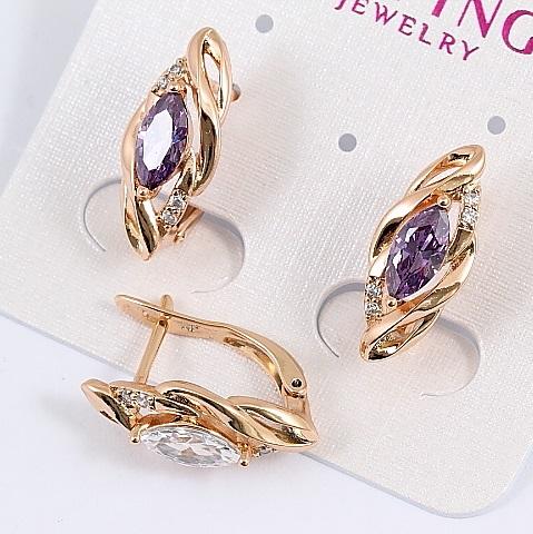Великолепные серьги «Джесика» с цирконом фиолетового цвета и позолотой купить. Цена 165 грн