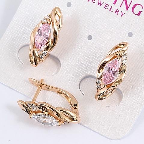 Нежные серьги «Джесика» с розовым камнем в оправе с золотым покрытием купить. Цена 165 грн