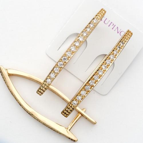 Удлинённые серьги «Флейта Большая» с прозрачными цирконами и позолотой купить. Цена 199 грн