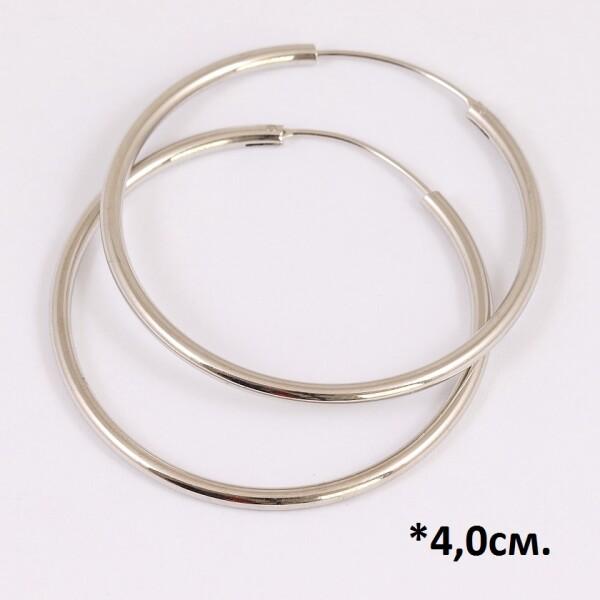 Простые серьги «Кольца гладкие» с застёжкой конго и родиевым покрытием купить. Цена 135 грн