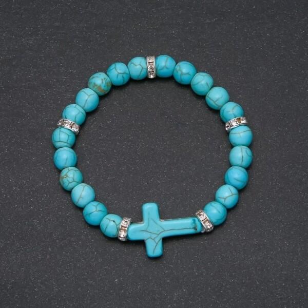 Милый браслет «Крест бирюзовый» из бирюзовых бусин купить. Цена 155 грн