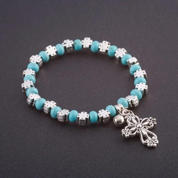 Лёгкий браслет «Бирюза с крестом» со вставками под серебро купить. Цена 165 грн