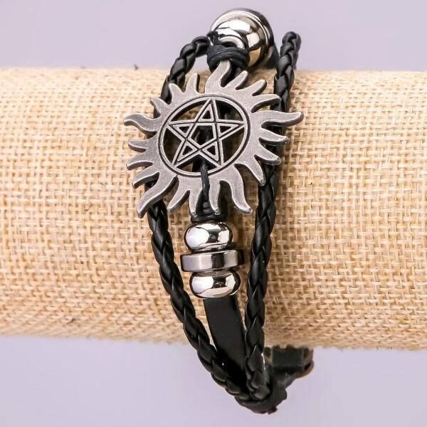 Тройной кожаный браслет «Пентаграмма» с металлическими вставками купить. Цена 135 грн