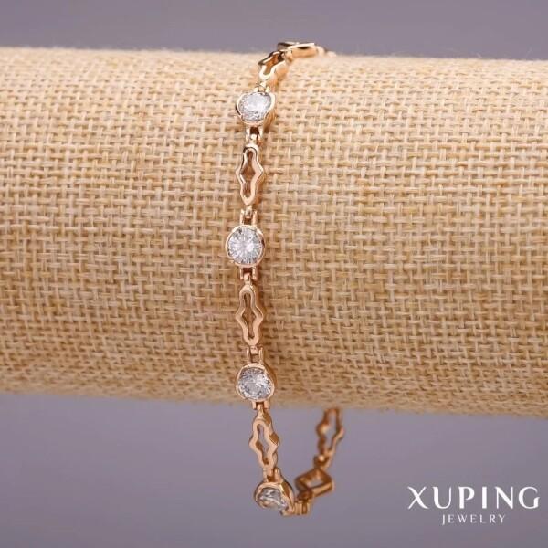 Интересный браслет «Трефовый» с прозрачными цирконами и золотым напылением купить. Цена 285 грн