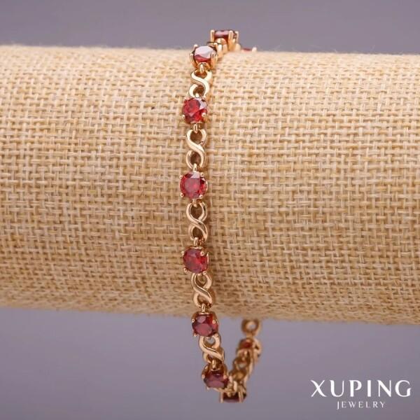 Прелестный браслет «Элизиум» с красными фианитами и покрытием из золота купить. Цена 299 грн